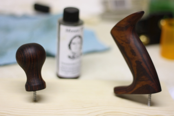 Knob and tote after two coats of gunstock finish...