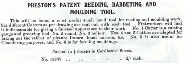 Ad text for the 1393s from the 1909 Preston Tool Catalog (reprinted by Astragal Press)